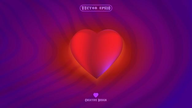 紫色の背景を持つ愛と心のシンボル Premiumベクター