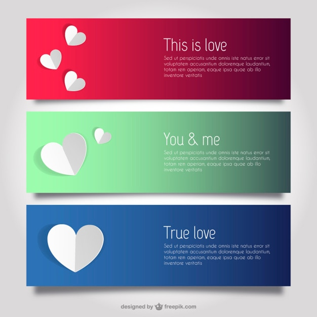 Love and hearts banner templates Vector – Love Templates Free