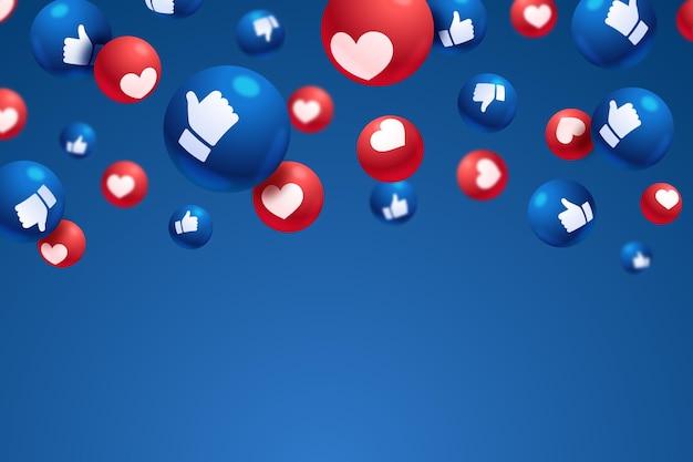 Любовь и любит реакции на фоне пустого пространства Premium векторы