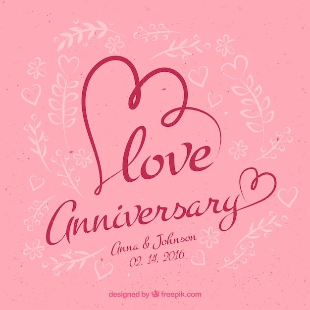 Love anniversary background vector free download