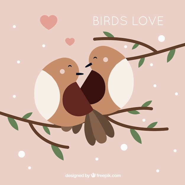Love background with birds in flat\ design