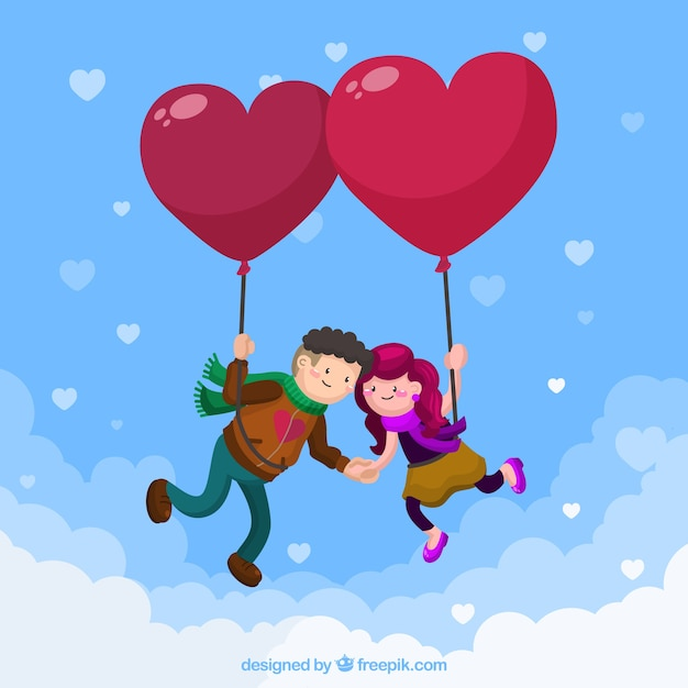 Love background with couple flying on heart\ balloons