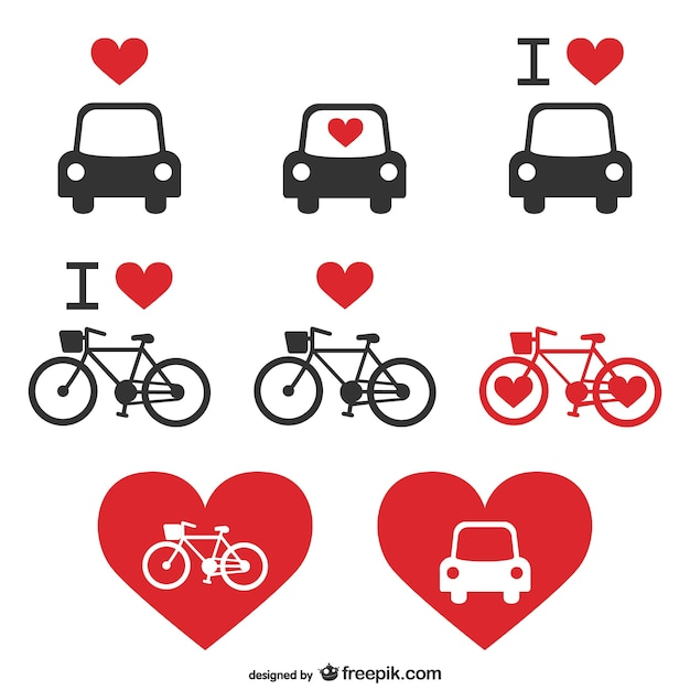 Love bikes and cars icons Free Vector
