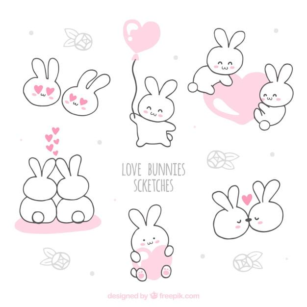 Love bunnies sketches Free Vector