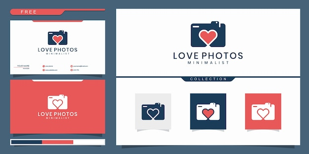 Love camera photo logo template   isolated Premium Vector