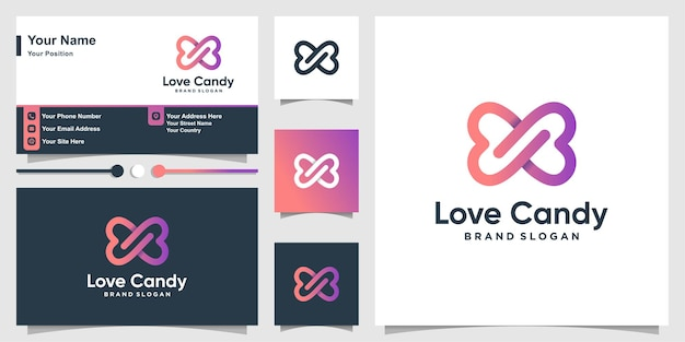 Love candy logo with cute gradient color style and business card design Premium Vector