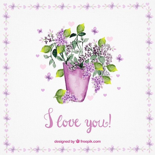 Love Card Of Vase With Watercolor Flowers Vector Free Download