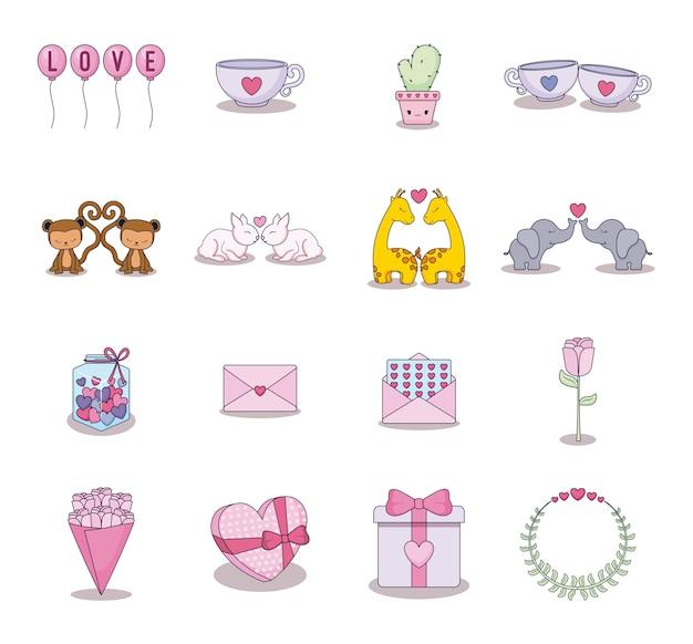 Love card set icons Premium Vector