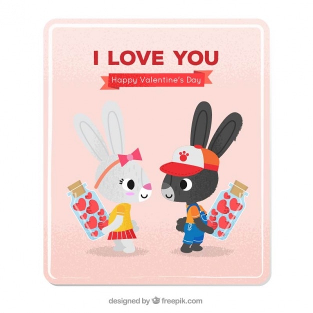 Love card with bunnies in love