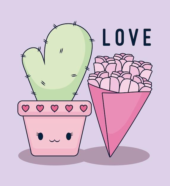 Love card with cactus kawaii Premium Vector