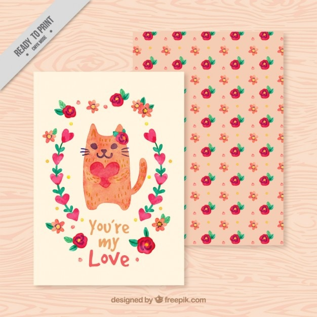 Love card with cat