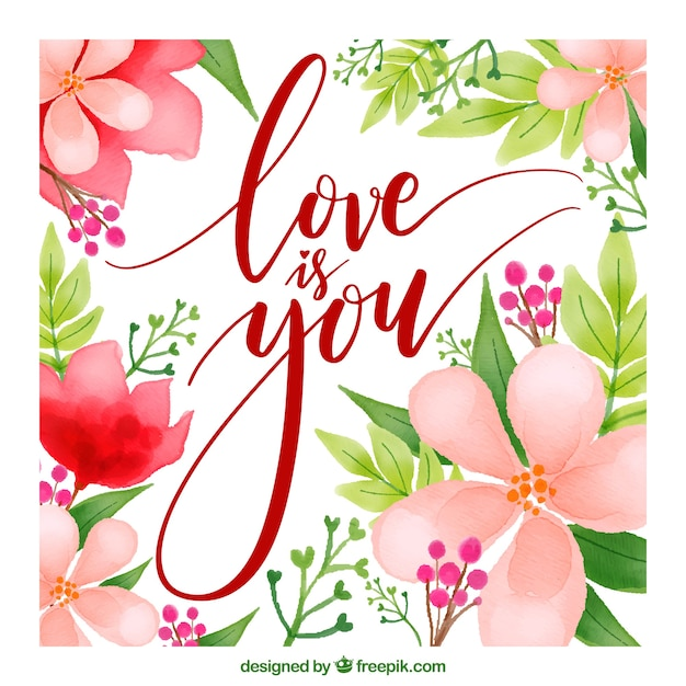 Love card with flowers Free Vector