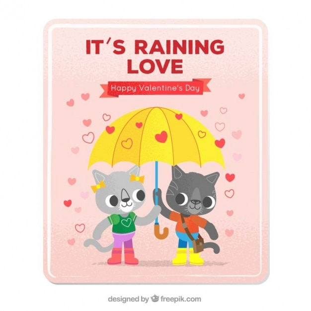 Love card with kittens in love with an\ umbrella