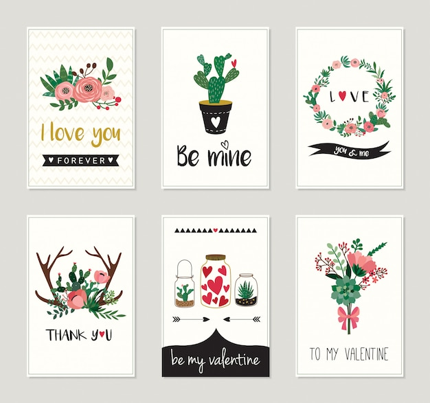 Love cardsor invitations collection with  floral, decorative design Premium Vector