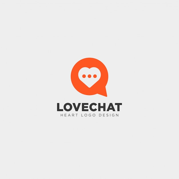 Love chat simple creative logo template Premium Vector