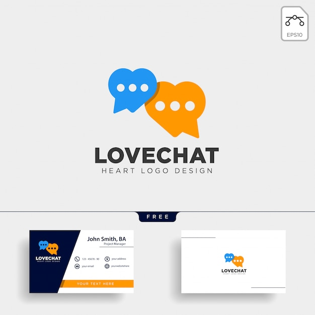 Love chat simple creative logo vector icon isolated Premium Vector