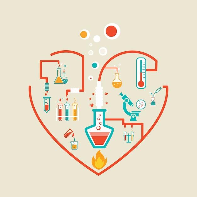 Amore chimica illustrazione vettoriale schema infografica con boccette, provette e bicchieri Vettore gratuito