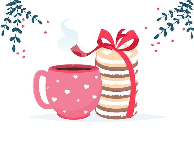 コーヒーカップ、マカロンデザート、チョコレート菓子カードが大好きです。愛してるカード。 Premiumベクター
