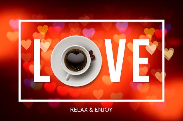 コーヒーが大好きです。一杯のコーヒー、赤いハート、イラストから背景をぼかした写真。 Premiumベクター
