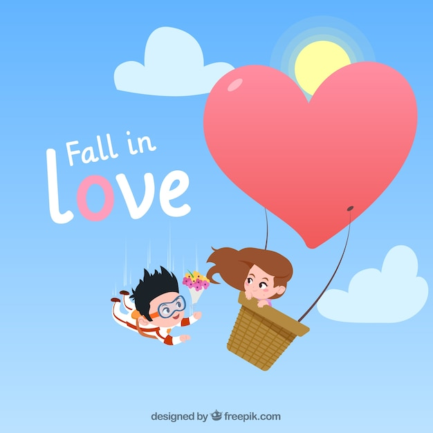 Love composition with flat design Free Vector