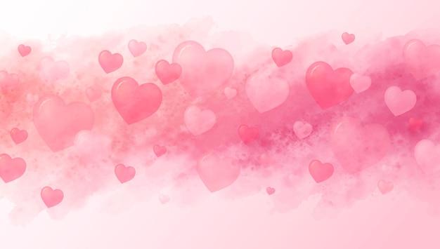 사랑 개념과 마음과 수채화 붓의 발렌타인 배경 프리미엄 벡터