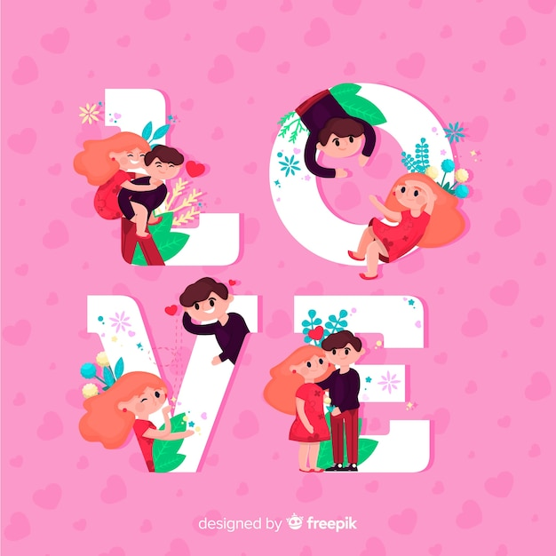 Love concept with cute couple Free Vector