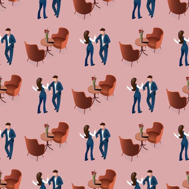 レストランのシームレスなパターンでデート愛のカップル 無料ベクター