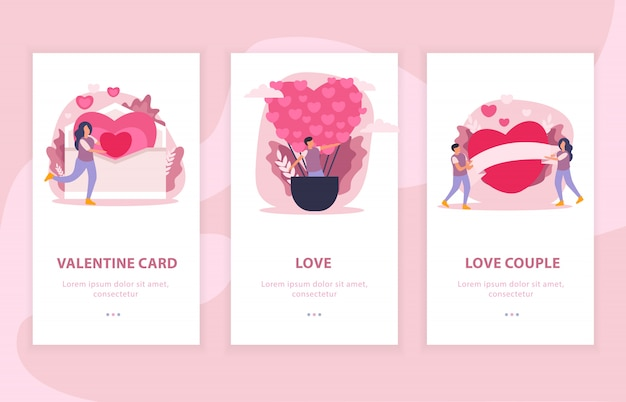Love couple flat composition banner set with valentine card and love descriptions illustration Free Vector