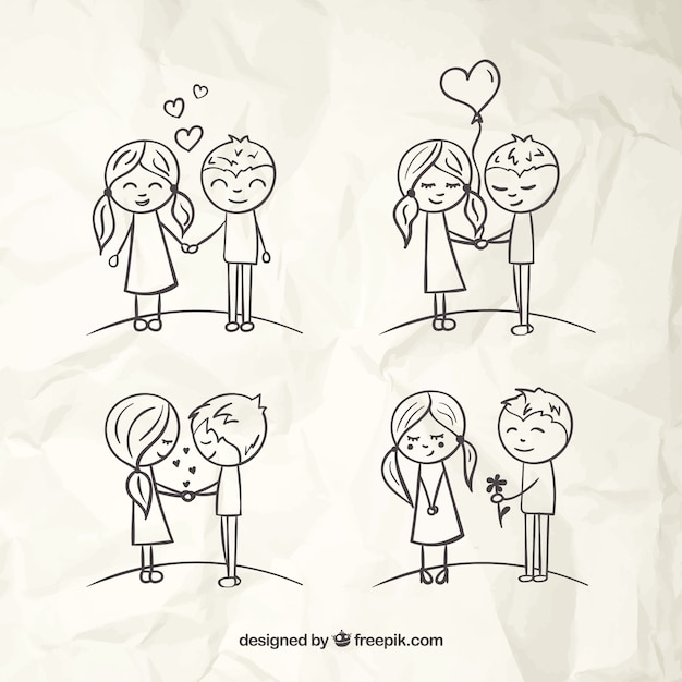 Love Couples Sketches Vector | Free Download