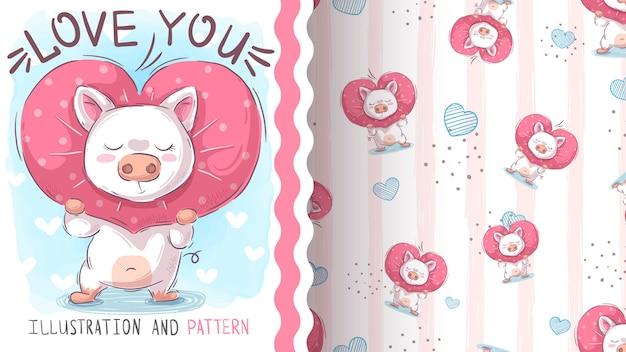 Love cute pig - seamless pattern Premium Vector