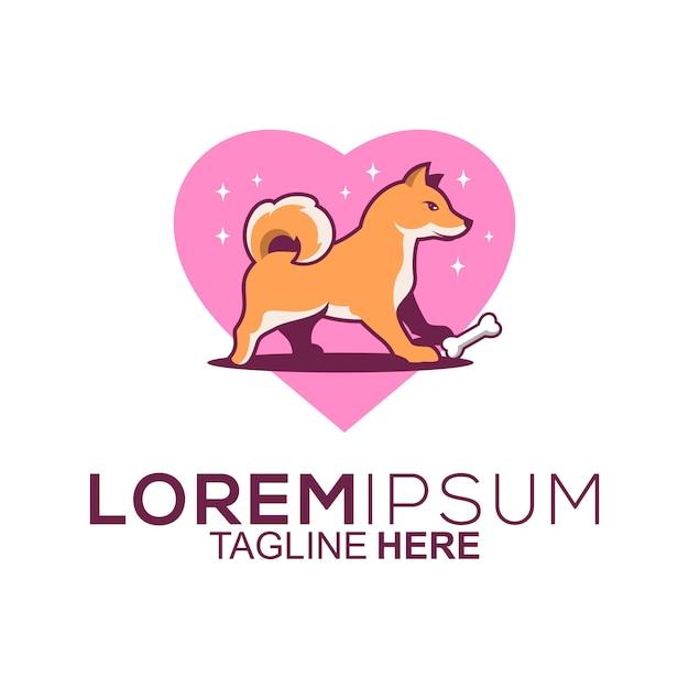 Love dog logo design Premium Vector