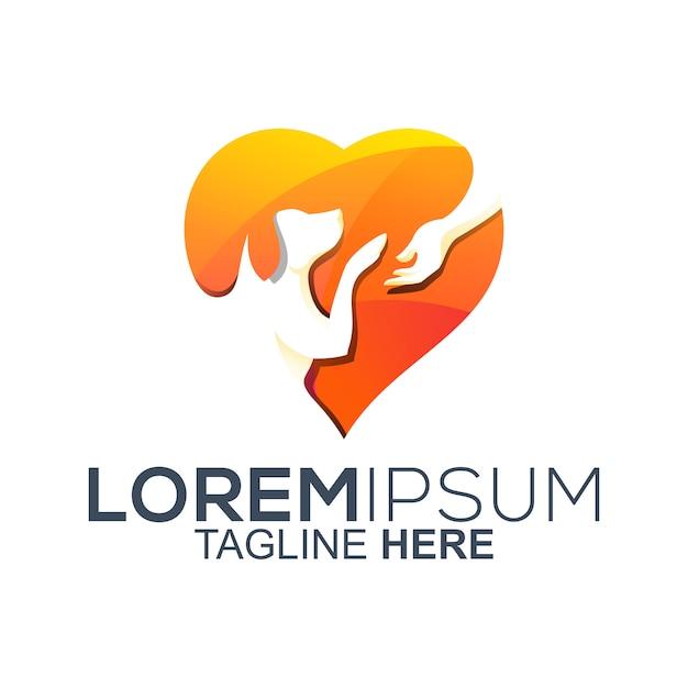 Love dog pet care logo design Premium Vector