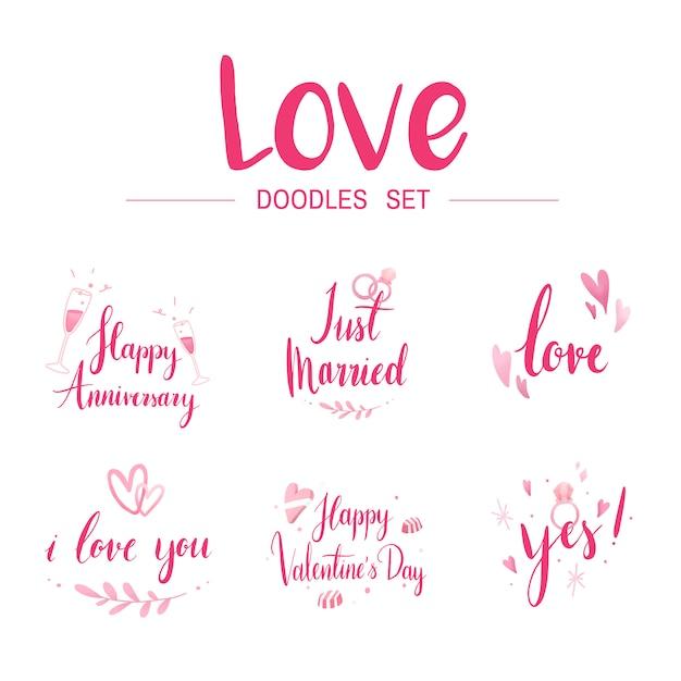 Love doodle set typography vectors Free Vector