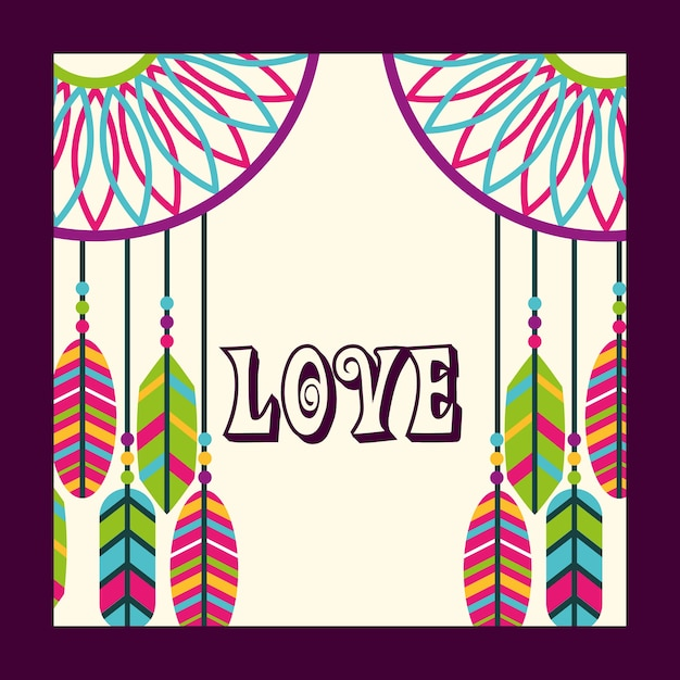 Love dream catcher feathers ornament free spirit Premium Vector