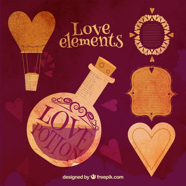 Love elements in a vintage style Free Vector