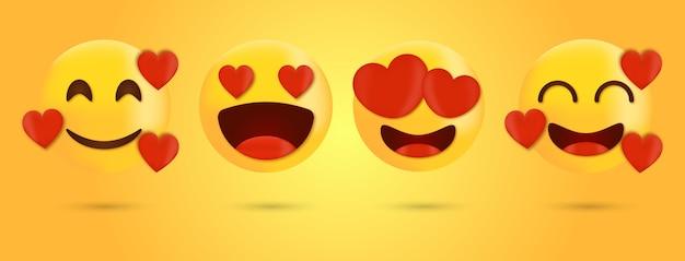 심장 벡터 얼굴 세트로 이모티콘과 이모티콘 사랑-심장 눈으로 웃는 얼굴 이모티콘 프리미엄 벡터