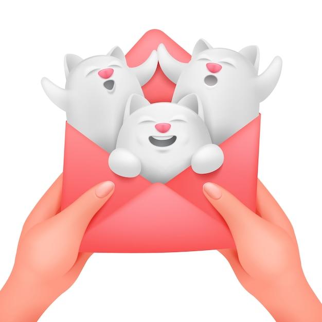 3つの白猫と女性の手で封筒が大好きです。誕生日グリーティングカードコンセプトテンプレート。 Premiumベクター