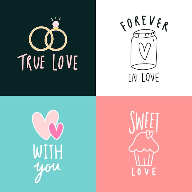 Love expressions icon set Free Vector