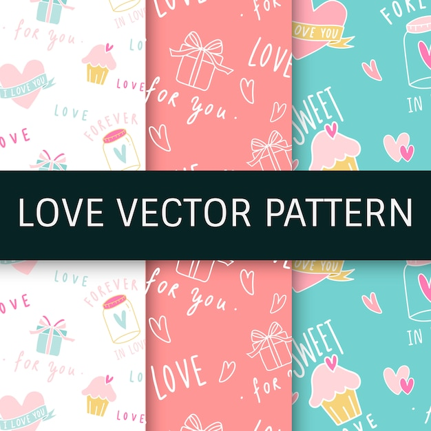 Love expressions seamless background vector set Free Vector