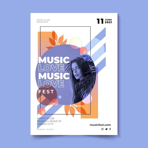 Музыкальный фестиваль плаката love fest Бесплатные векторы