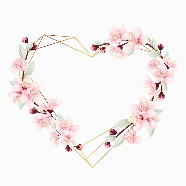 Love floral frame background with cherry blossoms Premium Vector