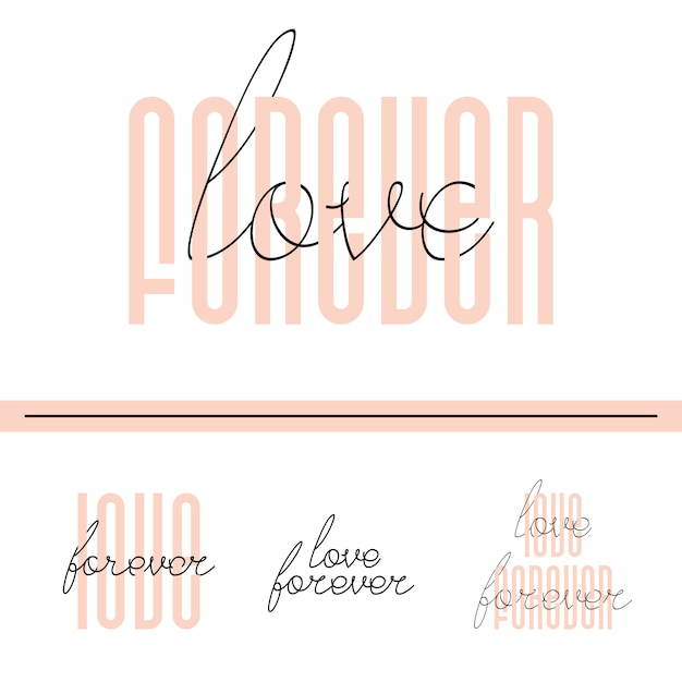 Love forever lettering quote card Premium Vector
