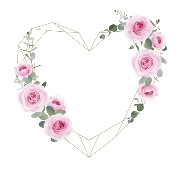 Love frame background floral roses and eucalyptus leaf Premium Vector