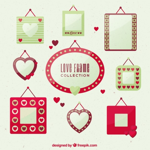 Love frame collection in flat design Free Vector