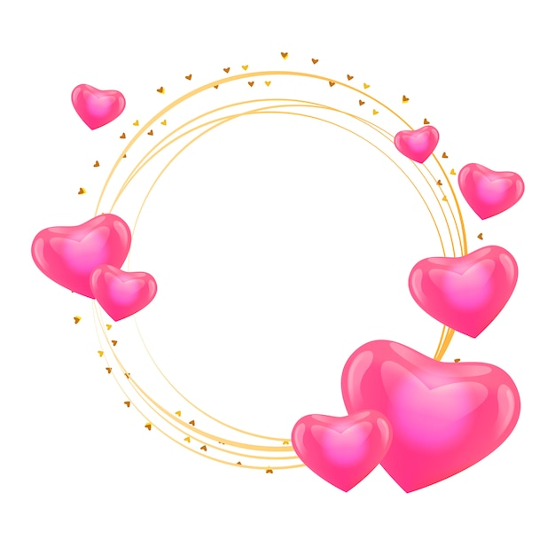Love frame with hearts gold circle. Premium Vector