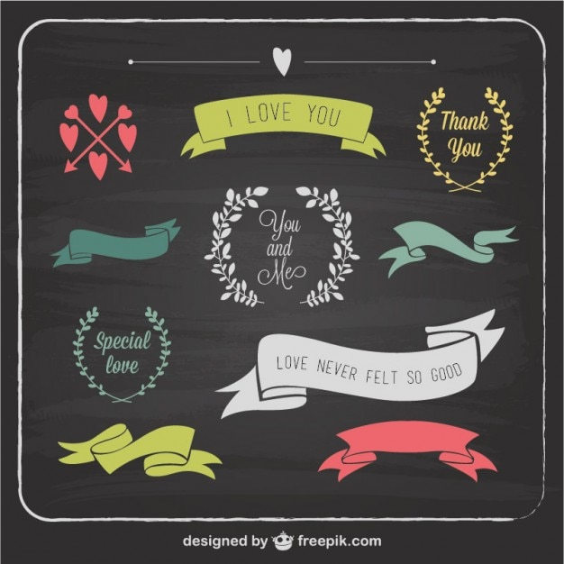 love graphic elements blackboard template vector free download