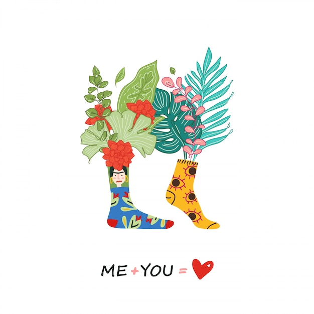 Love greeting card, romantic illustration of a couple in different colored socks. love couple print with quote design. me plus you - love. illustration, flowers in socks. Premium Vector