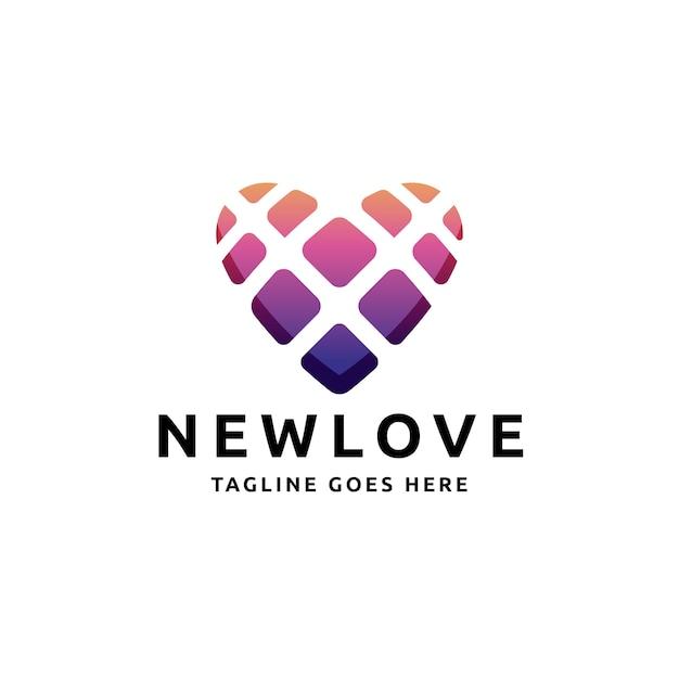 Love heart squares logo Premium Vector