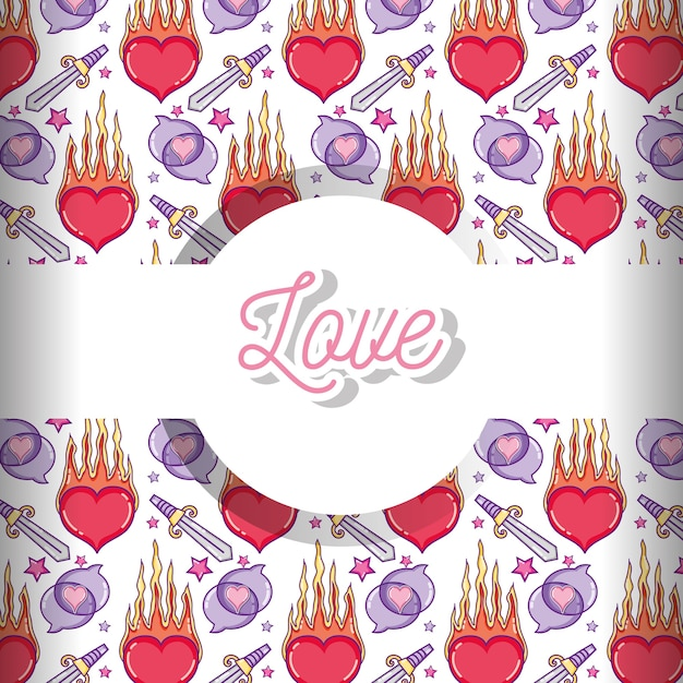 Love and hearts pattern background Premium Vector