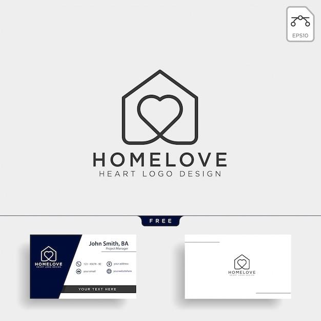 Love home line logo icon isolated Premium Vector